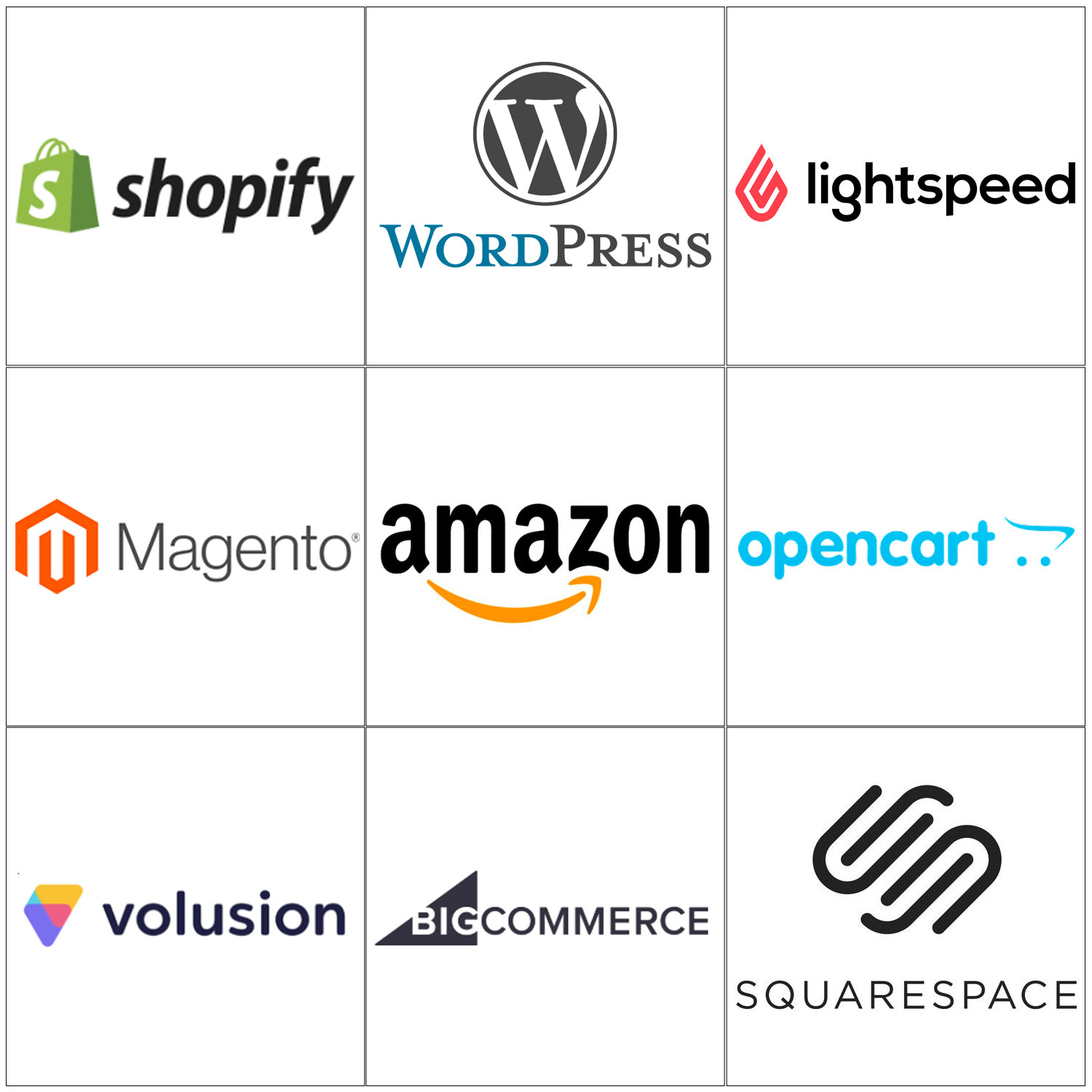 Wordpress Volusion Opencart Magento bigcommerce Squarespace Shopify Amazon Lightspeed